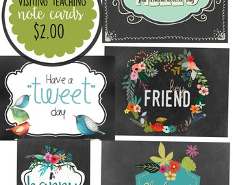 Visiting Teaching one-sided note cards-5x7-Chalkboard background