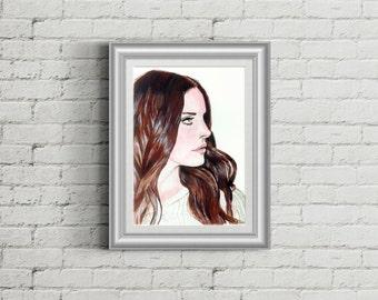 Lana Del Rey portrait acrylic painting  PRINT