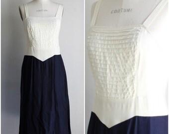 Vintage 1940s Slip / Navy Blue And White NightGown / 40s Slip / Pintuck Front / Vintage Lingerie / Slip Dress / Slipdress