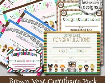 Brown Vest Certificates Pack- Instant Download - Print Your Own