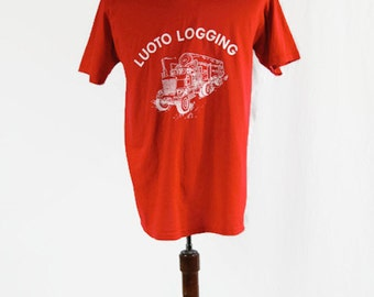 Vintage T-Shirt Luoto Logging Red Stedman Super 50 Made in USA 50/50 Poly Cotton