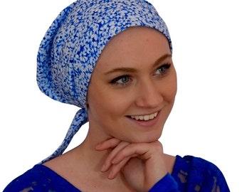 Sandra Scarf, A Women's Surgical Scrub Cap, Cancer Headwear, Chemo Head Scarf, Alopecia Hat, Head Wrap, Head Cover, Hair Loss - Blue Heaven