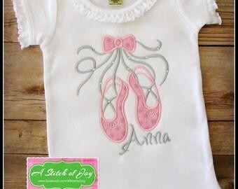 Ballerina, Ballet Slippers, Ballet, Dance, Embroidery, Bodysuit or Shirt