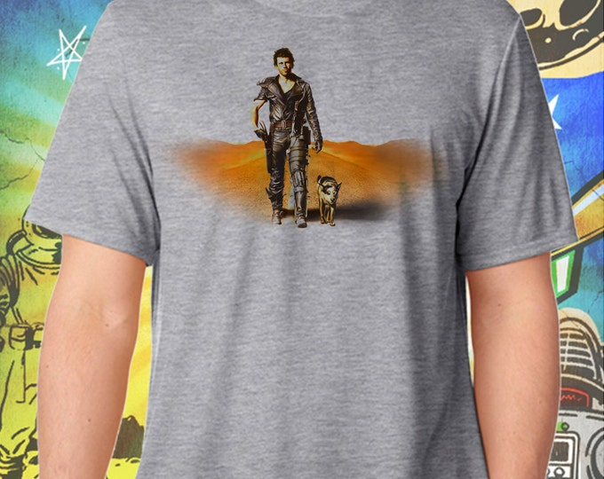 Mel Gibson's Mad Max and Dog Men's Summer Gray T-Shirt