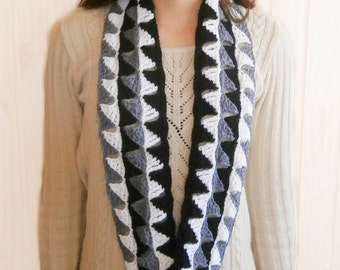 Infinity Scarf Crochet Pattern in black white and gray. Triangles circle scarf PDF crochet pattern _ M30