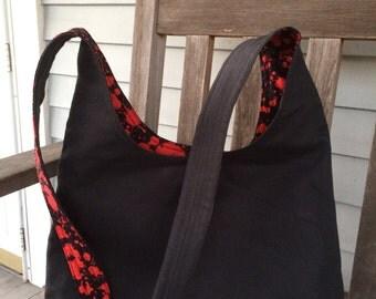 Hobo bag slouch bag blood spatter goth canvas bag