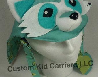 Lil' Rascals Raccoon Hood, custom tula hood, custom raccoon hood, custom lil rascals, lil rascals hood, tula hood, tula reach straps