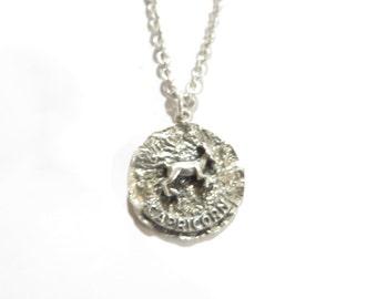 Vintage Dane Craft Sterling Silver Capricorn Pendant Necklace