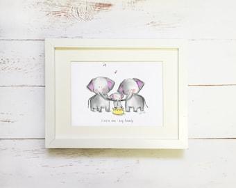 Elephants. Nursery room decor. kids wall art. children's room art print.