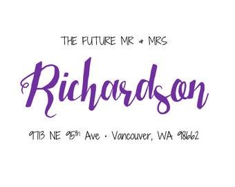 1 Sheet (30 labels) the future mr & mrs wedding return address mailing label stationary sticker