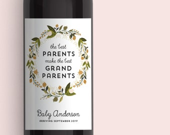 Pregnancy Announcement, Baby Announcement Wine Bottle Label, Custom Wine Label, Best Parents Get Promoted to Grandparents, Shower Favor