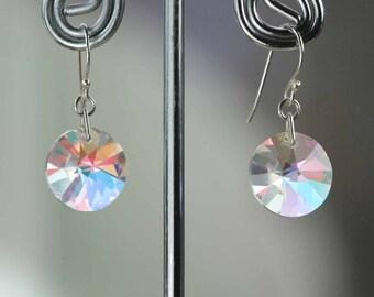 RARE! Vintage Swarovski Crystal AB Earrings - New Sterling Silver 925 Hook