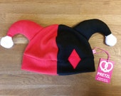 Harley quinn inspired funky clown cosplay fleece hat