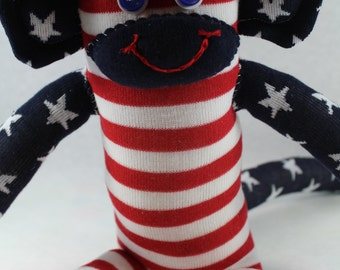 Sock Monkey / American Flag / Fourth of July / Red White and Blue / 4th of July Decor / Fourth of July Decor / Gift / Striped