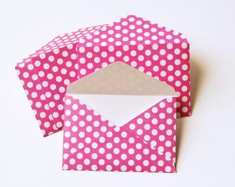 Mini Pink Polkadot Envelopes - Pink Polkadot Gift Card Envelopes - Pink Envelopes - Gift Card Envelopes - Minnie Mouse Envelopes