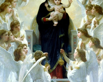 Virgin Mary print Our Lady of the Angels Catholic prints Catholic posters Virgin Mary and Child Bouguereau Christian gifts Catholic gifts