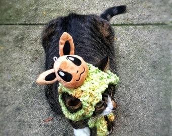 Halloween  Costume Hat with Brown Pokemon Green Crochet Unique Handmade Cat Dog Pet Hat
