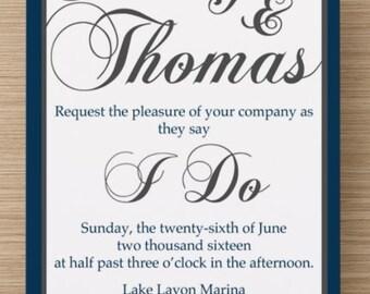 Preppy Wedding Invitations - DIGITAL COPY - Great for Nautical/Preppy/Country Club Weddings! Print Your Own!