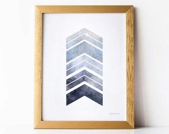 Grey blue wall art, Chevron decor, Gray blue wall print, PRINTABLE wall art print, Office decor, Grey wall art, Bedroom decor, Blue gray art