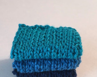 Miniature Faux Shelf Blankets - Shabby Chic Hand Knitted - Stack of 3 -Peacock, Blue, Dark Blue