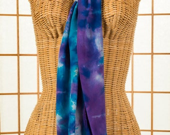 READY To SHIP Purple Turquoise & White Crepe de Chine 100% Silk Long Scarf Hand Dyed