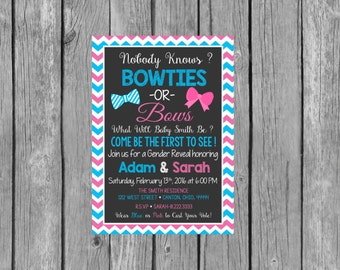 BOWTIES OR BOWS Gender Reveal Party Invitation - Gender Reveal Invitation