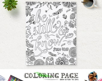 coloring page printable bible verse psalm 46 10 be still instant download adult coloring pages printable