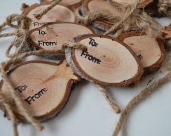 Wood slices, rustic wood tags, To & From gift tags, wood slice, pkg of 12 rustic wood slices with hole, natural Sisal/Jute twine, farmhouse