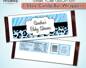 Custom PRINTED Candy Bar Wrapper, Blue Safari, Boy Baby Shower Favor, Leopard, Zebra Print, for Customized Chocolate Bar,  Personalized
