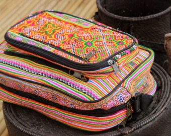 Flower Hmong Hand Embroidered ipad Laptop Bag Hand Hill Tribe