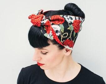 Rock Rockabilly 50s pin up Skulls Roses Tattoo headscarf Polka dots reverse bandana