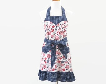 Womens Red White Blue Apron, Patriotic Apron, 4th of July Apron, Apples Apron, Ruffled Summer Apron, Bridal Shower Gift