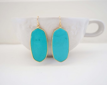 Turquoise Blue and Gold Statement Earrings