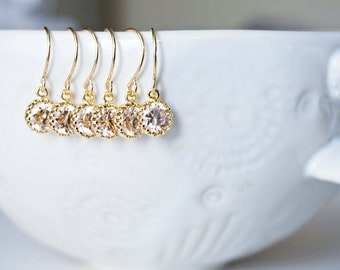 Dainty Champagne Gem Earrings | Bridesmaid Earrings | Wedding Jewelry