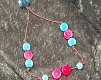 Hot Pink and Turquoise Adjustable Bracelet