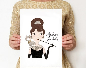 Style Icon Audrey Hepburn A4 Art Giclée Print