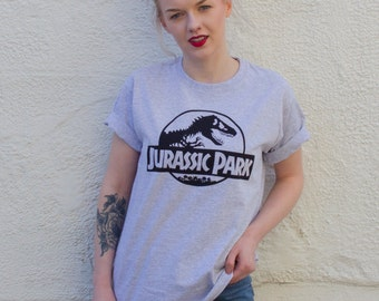 Jurassic Park Vintage Style Screenprinted T-Shirt - Grey