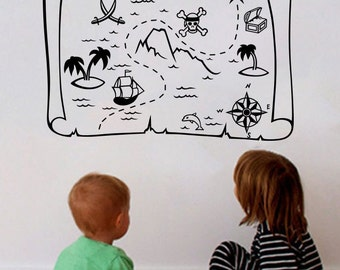 Pirate Decal Treasure Map Decal Pirate Map Decal Pirate Nursery Decor Decal  Pirate Wall Decals Pirate