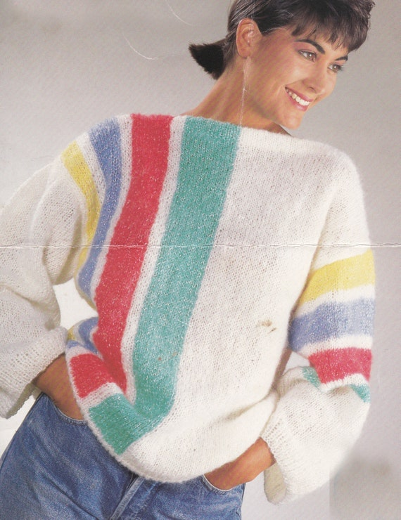 PDF baggy sweater vintage knitting pattern ladys jumper baggy