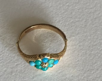 A Turquoise and Diamond Victorian Gold Ring