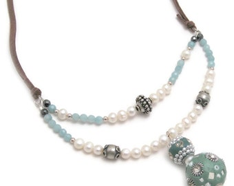 sundance style necklace, boho pearl necklace, beaded gemstone necklace, freshwater pearl necklace, indonesia bead necklace, tribal necklace