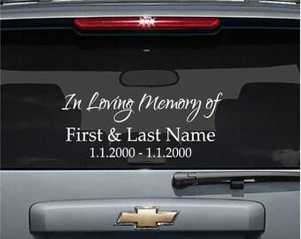 Vinyl In Memory Of Decal, In Memory of Car Decal, Customized In Memory Of, Personalized Car Decal