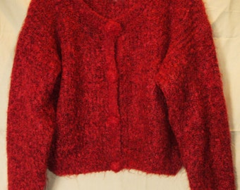 Beautiful Sweater Midriff Cardigan Paul Et Duffier Maroon and Black Size Large Mohair & Acrylic