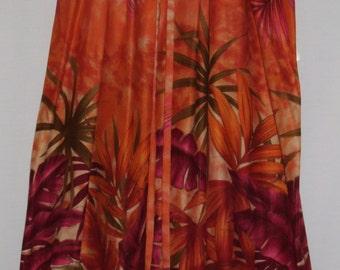 Orange Tropical Print Skirt
