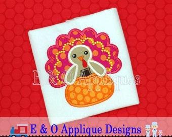 Turkey Applique Design - Thanksgiving Applique Design - Pumpkin Applique Design - Turkey Embroidery Design - Thanksgiving Embroidery Design