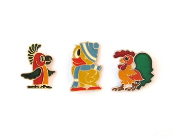 Birds, Children's badges, Pick your pin, Rooster, Duck, Parrot, Vintage collectible badge, Soviet Vintage Pin, Soviet Union, USSR, 1980s