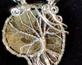 Sterling Silver wired Tree of Life Ammonite pendant