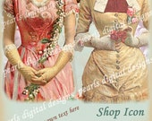 Shop Icon etsy, vintage rose ladies, 500 x 500 pixels, blank file, add your own text, roses, two ladies, fashion vintage, ivory and rose