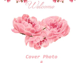 Cover banner large and Shop Icon set, Falling Roses, instant download,3360 x 840, blank files, pink, white frame, White background, roses