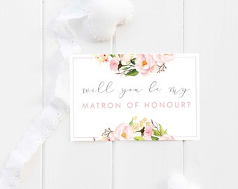 Printable Card Set - 'Will you be my Matron of Honor/Honour?' Pink Floral Card Set
